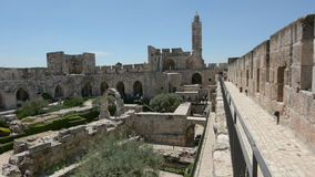Tower of David and archeological garden in Jerusalem, Israel. stock video