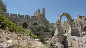 Tower of David and archeological garden in Jerusalem, Israel. stock video footage