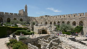 Tower of David and archeological garden in Jerusalem, Israel. stock footage