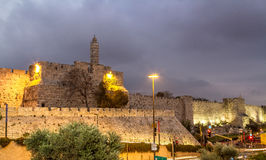 Tower of David in the evening, Jerusalem Stock Image