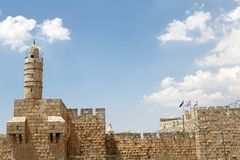 Tower of David and israeli flag Stock Photo