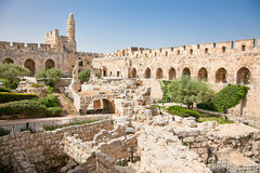 Tower of David in Jerusalem, Israel. Tower of David is so named because Byzantine Christians believed the site to be the palace of King David. The current stock photo