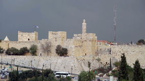 Tower of David in Jerusalem stock footage