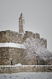 Tower of David in Jerusalem during snowfall Royalty Free Stock Photos