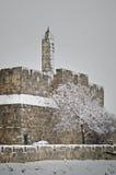 Tower of David in Jerusalem during snowfall royalty free stock photos