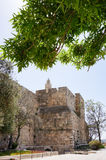Tower of david and Jerusalem walls Stock Photos