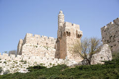 Tower of david and Jerusalem walls Royalty Free Stock Photography