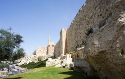 Tower of david and Jerusalem walls Royalty Free Stock Image