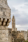 The Tower of David and Old City Wall of Jerusalem, Israel Stock Photos