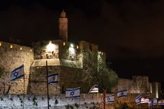 Tower of David at night stock photography
