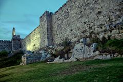 Tower of David and Old Jerusalem City Wall at Dusk Stock Images