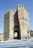 Tower defense Alcantara bridge in Toledo Stock Image