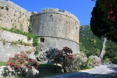 Tower and defense wall in  Ston, Croatia Royalty Free Stock Image