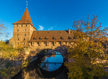Tower and defensive wall-old city- Nuremberg, Germany Royalty Free Stock Photos