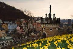 tower den tjeckiska karlovy republiken för staden varierar sikt arkivfoto