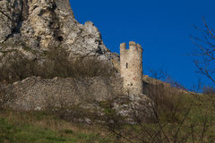 Tower of Devin castle ruins, Slovakia Royalty Free Stock Photo