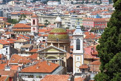 Tower and dome of Nice Cathedral, France stock photos