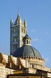 Tower and dome of Siena cathedral Stock Photo