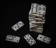 Tower from dominoes bones Stock Images