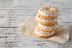 Tower of donuts on paper napkin Royalty Free Stock Photography