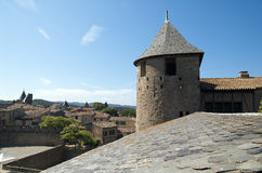 Tower of the door of the castle. Of the Cite of Carcassonne royalty free stock photos