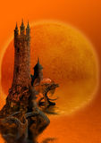Tower and dragons. The fantastic image of a tower with the dragons floating in water royalty free illustration