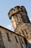 The Tower at Eastern State Penitentiary. Grim and haunting view of the old tower at the Eastern State Penitentiary in Philadelphia Royalty Free Stock Photo