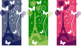 Tower. Eiffel tower with butterflies and stars Stock Photo