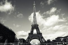 Tower Eiffel of Paris. In black and white Stock Photos
