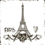 Tower Eiffel with Paris lettering. Royalty Free Stock Photography