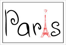 Tower Eiffel with Paris lettering Stock Image