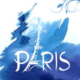 Tower Eiffel with Paris lettering. Vector illustration Stock Photography