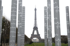 Tower eiffel and the peace pillar Stock Photography