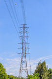 Tower with electricity post Royalty Free Stock Photos