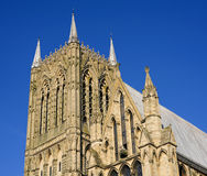 Tower of an english cathedral. Tower and spires of an old enlgish city cathedral Royalty Free Stock Images