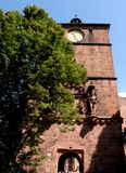 Tower and entrance door of the ancient Heidelberg Castle in Germany Stock Images