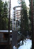 Tower and entrance to The trail trees Lipno Lookout. Behind pine trees in Czech Republic Stock Photo