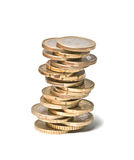 Tower from euro coins Stock Photos