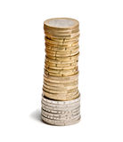 Tower from euro coins Stock Images