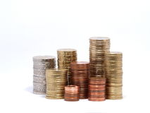 Tower of euro coins. Tower of some euro coins royalty free stock photos
