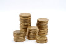 Tower of euro coins. Tower of some euro coins, 10 cent stock images