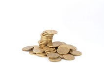 Tower of euro coins. Tower of some euro coins, 10 cent Stock Photo