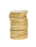 Tower of euro coins royalty free stock photography