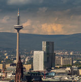 The Tower of Europe with business buildings in Frankfurt, German Stock Image