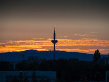 The Tower of Europe, Europaturm, at sunset in Frankfurt, Germany Stock Photography