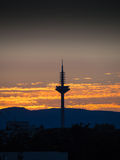 The Tower of Europe, Europaturm, at sunset in Frankfurt, Germany Stock Image