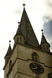 The evangelical church in Sibiu. The tower of the evangelical church in Sibiu Royalty Free Stock Images