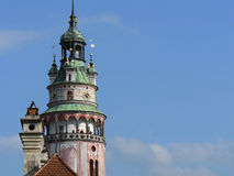 Czech Krumlov castle tower Stock Image