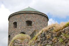 Tower Fars Hatt at Bohus Fortress. Nordic historic site, more than 700 years old, unsuccessfully besieged several times royalty free stock photography