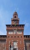 Tower of Filarete. Sforza Castle (XV c.). Milan, Italy. Center Tower of Filarete of Sforza Castle (Castello Sforzesco, circa XV c.).  Milan, Italy Stock Photo
